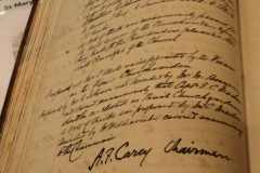 Ledger with Rev. Cary's signature.