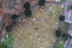 Grave Yard from the tower, note the lines of headstones.