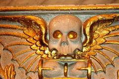 Close up of interior memorial inscription sculpture 17th century.
