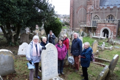 The team of volunteers reading and recording in St Mary's Grave Yard.